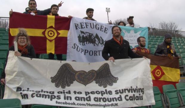 Visiting refugees with organiser Mark Doidge at Whitehawk FC
